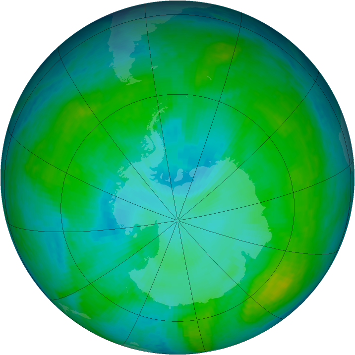 Antarctic ozone map for 12 January 2003