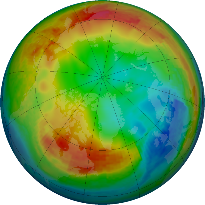 Arctic ozone map for 14 January 2003