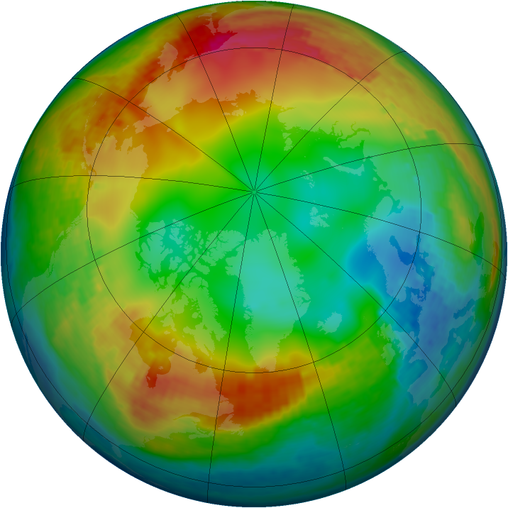 Arctic ozone map for 15 January 2003