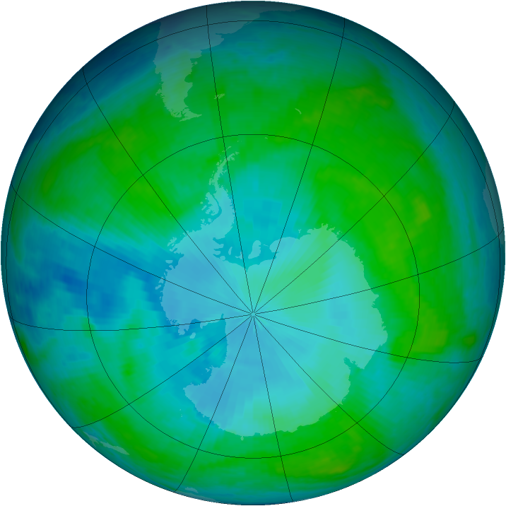 Antarctic ozone map for 27 January 2003