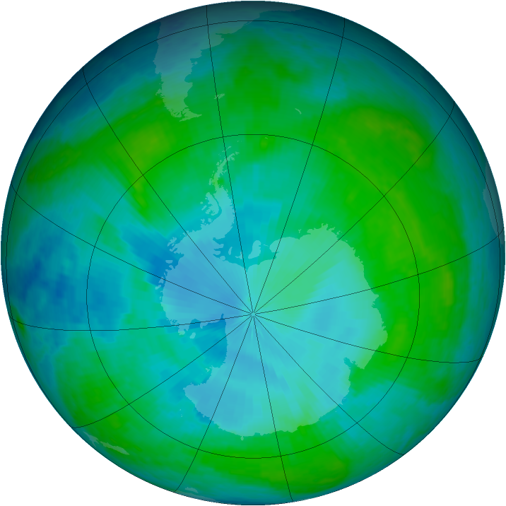 Antarctic ozone map for 28 January 2003