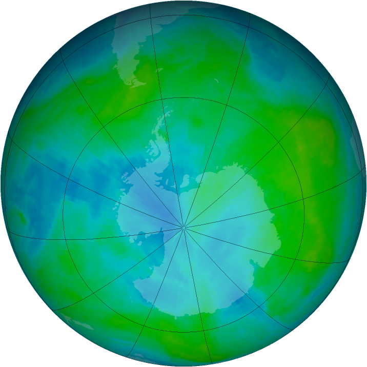 Antarctic ozone map for 29 January 2003