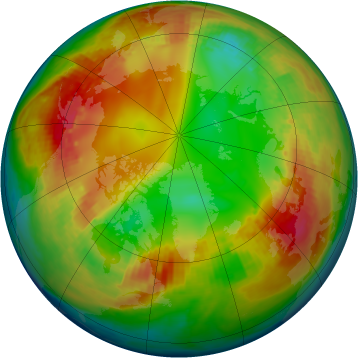 Arctic ozone map for 30 January 2003