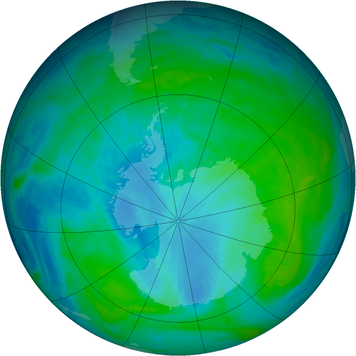 Antarctic ozone map for 01 February 2003