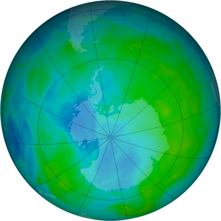 Antarctic ozone map for 03 February 2003