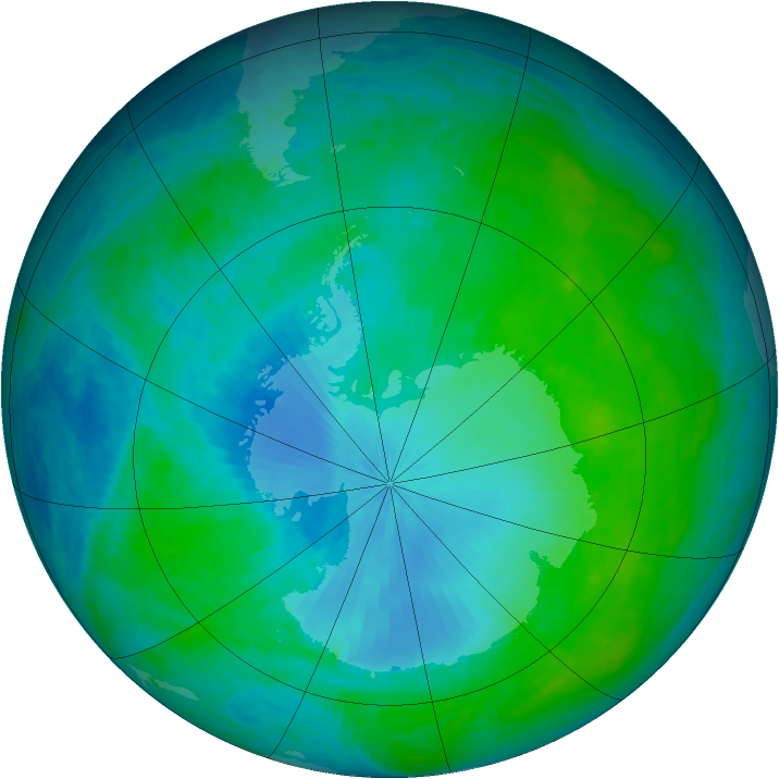 Antarctic ozone map for 04 February 2003