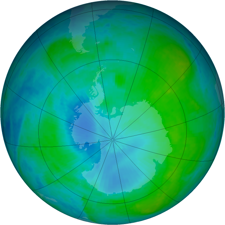 Antarctic ozone map for 05 February 2003