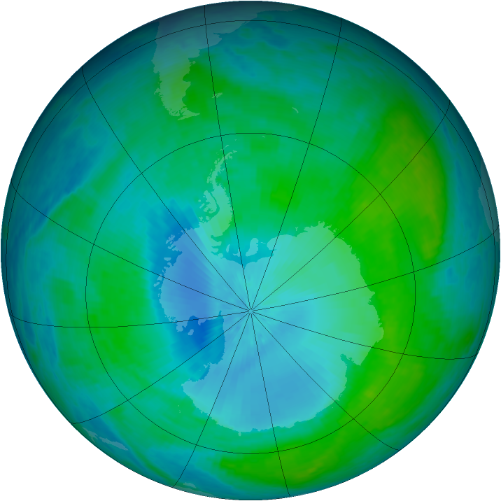 Antarctic ozone map for 06 February 2003