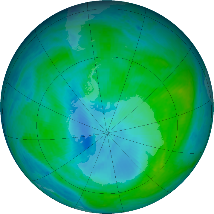 Antarctic ozone map for 07 February 2003