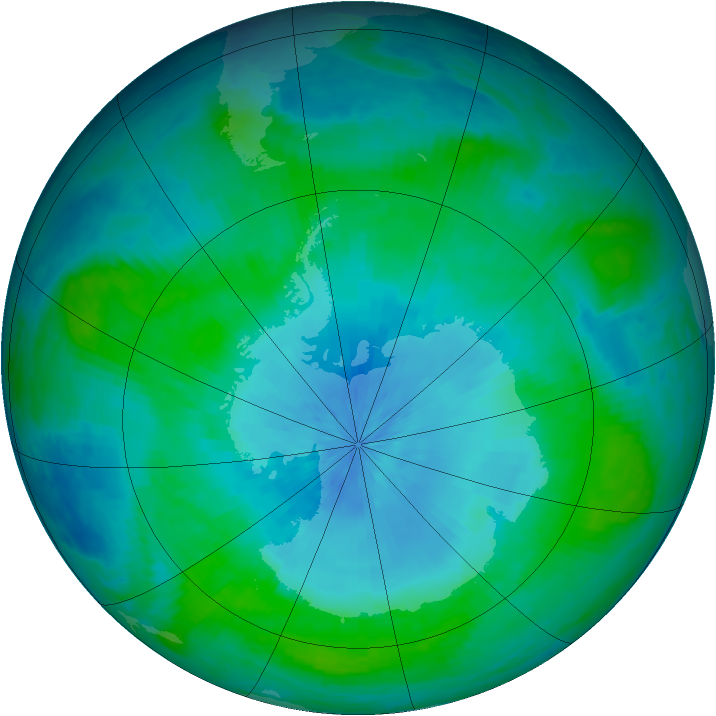 Antarctic ozone map for 14 February 2003