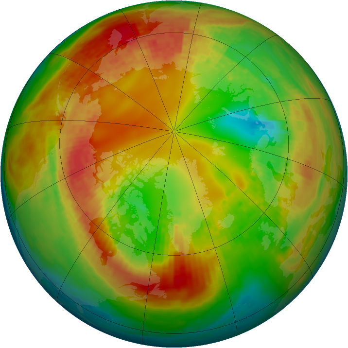 Arctic ozone map for 15 February 2003