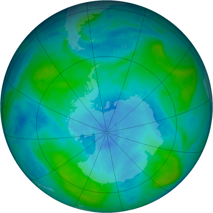 Antarctic ozone map for 16 February 2003