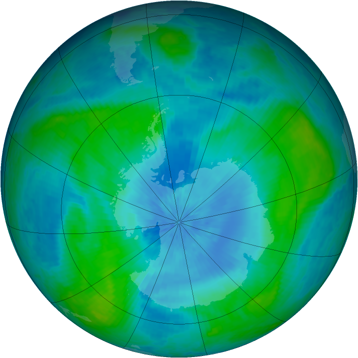 Antarctic ozone map for 20 February 2003