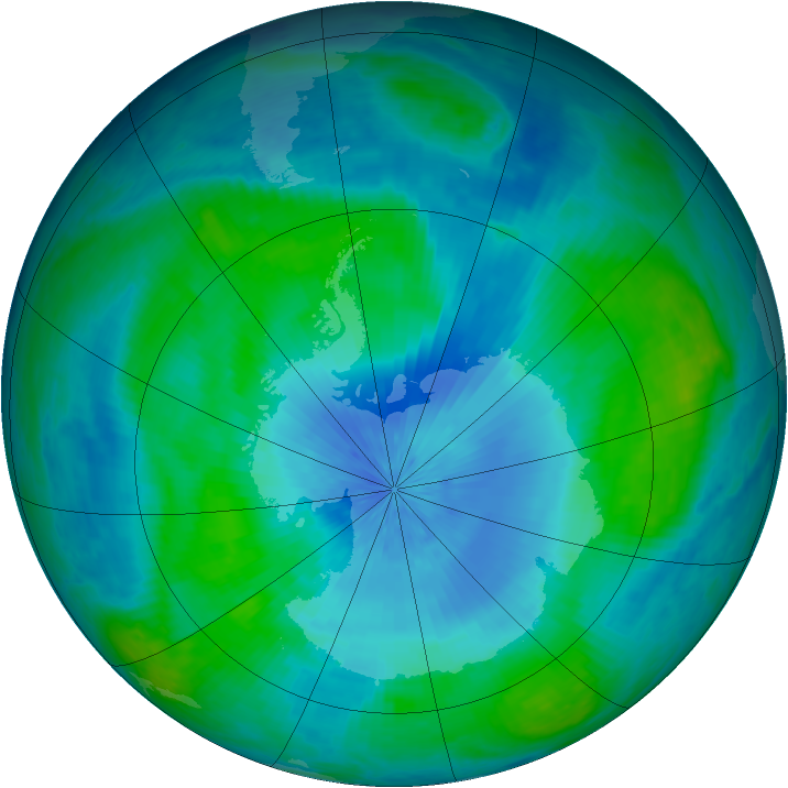 Antarctic ozone map for 21 February 2003