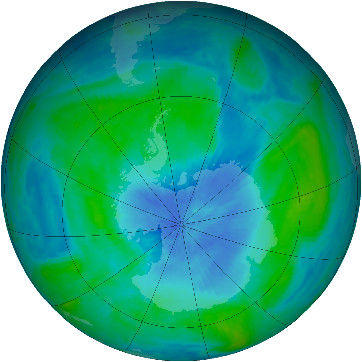 Antarctic ozone map for 22 February 2003