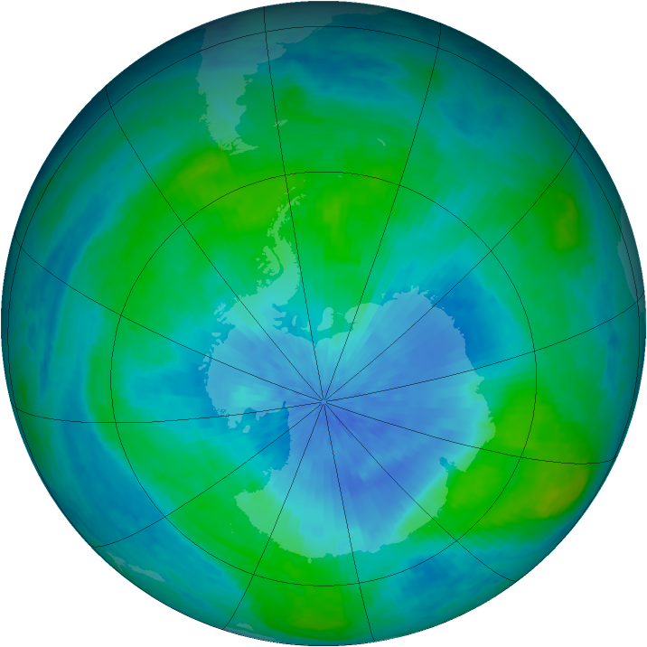 Antarctic ozone map for 27 February 2003