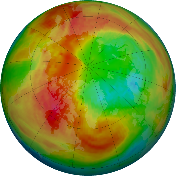 Arctic ozone map for 28 February 2003