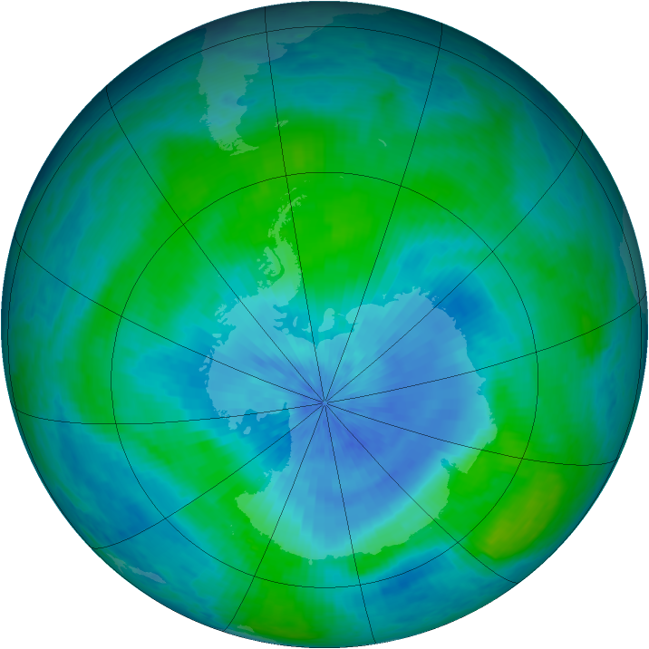 Antarctic ozone map for 28 February 2003