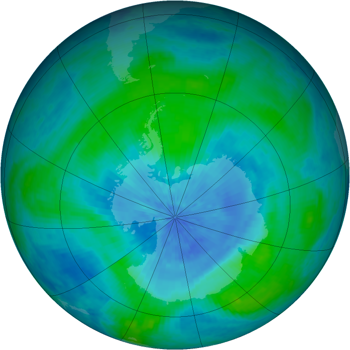 Antarctic ozone map for 01 March 2003