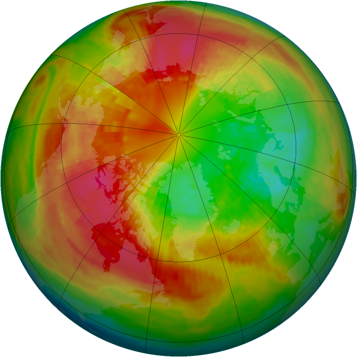 Arctic ozone map for 05 March 2003