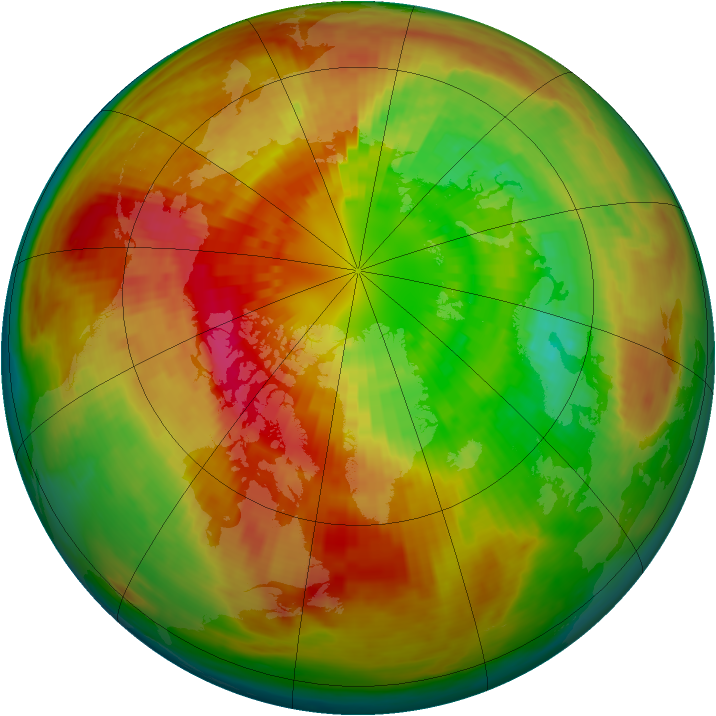 Arctic ozone map for 14 March 2003
