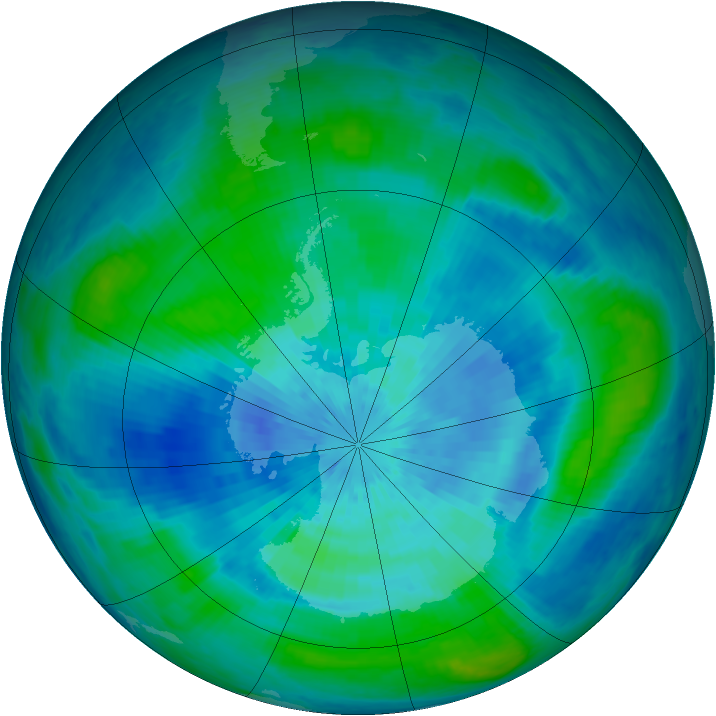 Antarctic ozone map for 15 March 2003