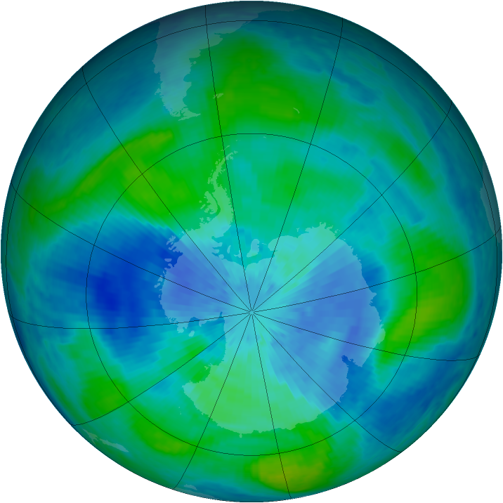 Antarctic ozone map for 16 March 2003