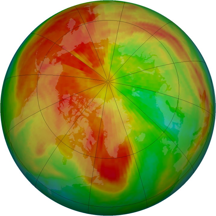 Arctic ozone map for 20 March 2003