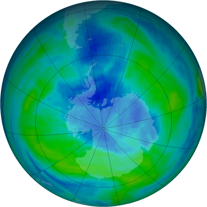 Antarctic ozone map for 24 March 2003