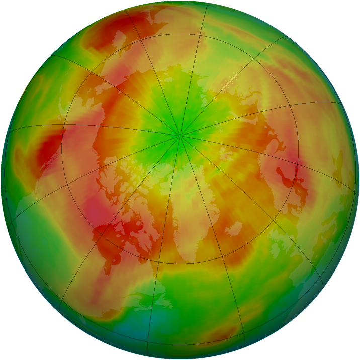 Arctic ozone map for 31 March 2003