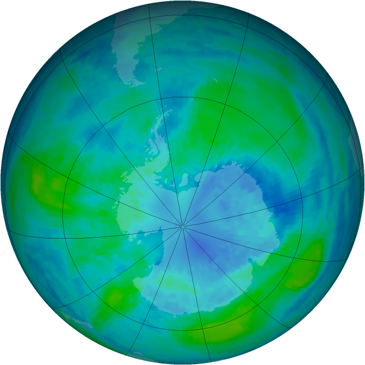 Antarctic ozone map for 31 March 2003