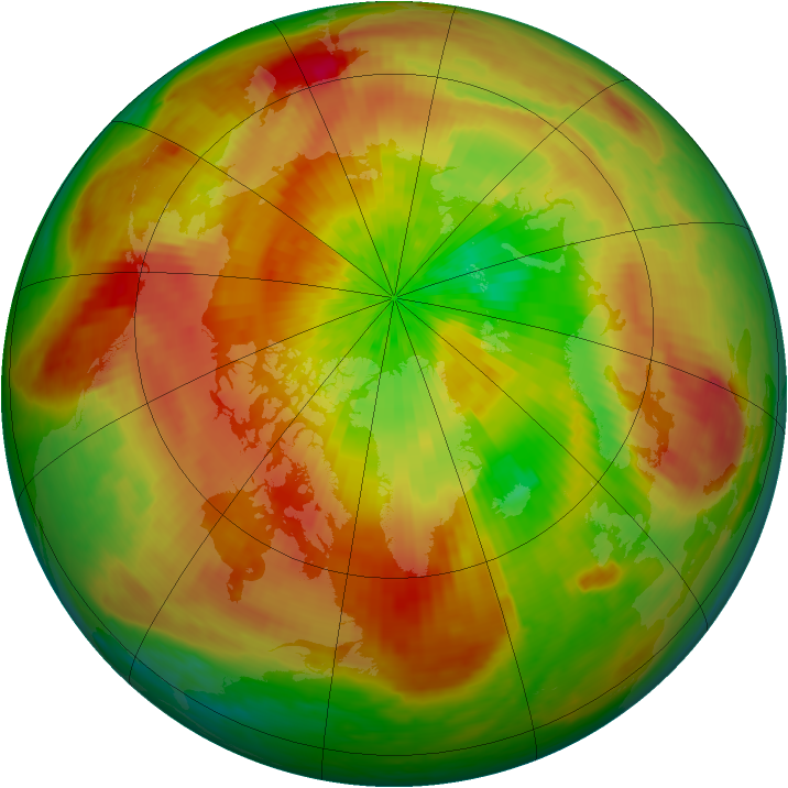 Arctic ozone map for 08 April 2003