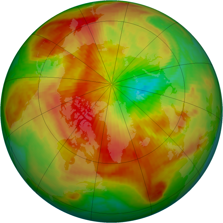 Arctic ozone map for 12 April 2003