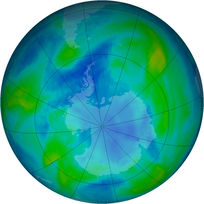 Antarctic ozone map for 16 April 2003