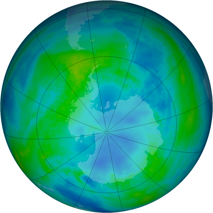 Antarctic ozone map for 25 April 2003
