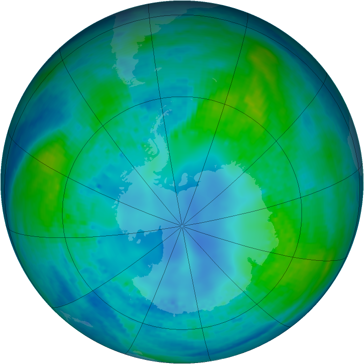 Antarctic ozone map for 30 April 2003