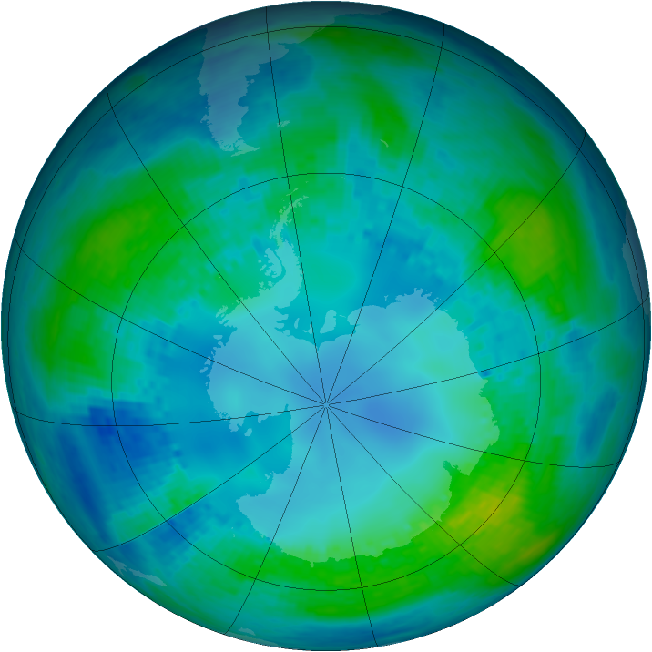 Antarctic ozone map for 02 May 2003