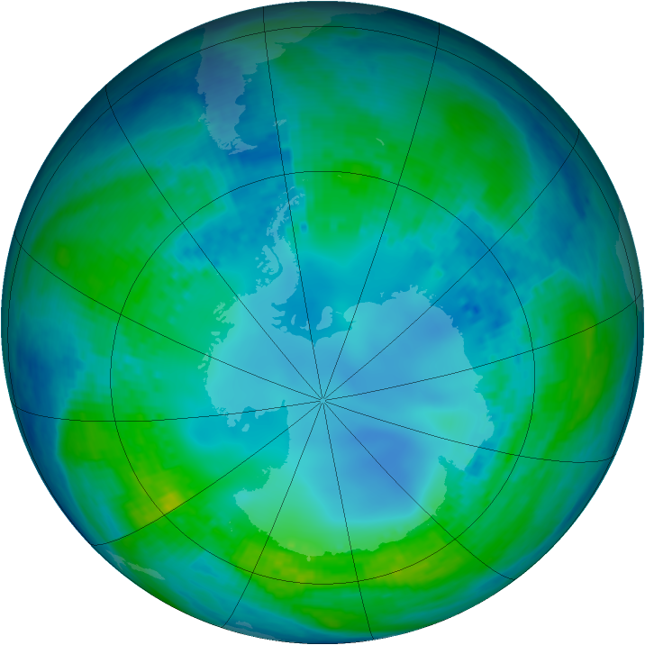 Antarctic ozone map for 05 May 2003