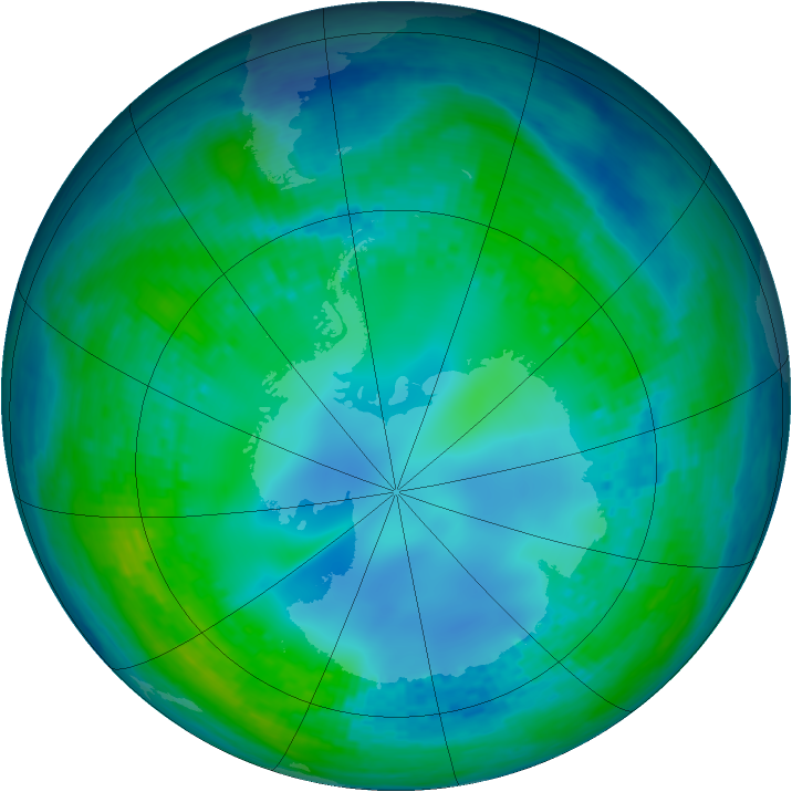 Antarctic ozone map for 09 May 2003