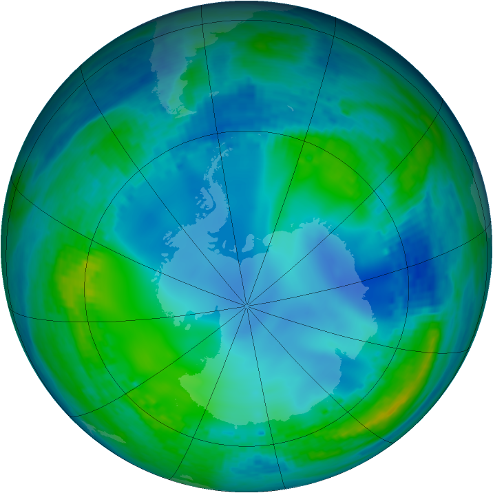 Antarctic ozone map for 24 May 2003