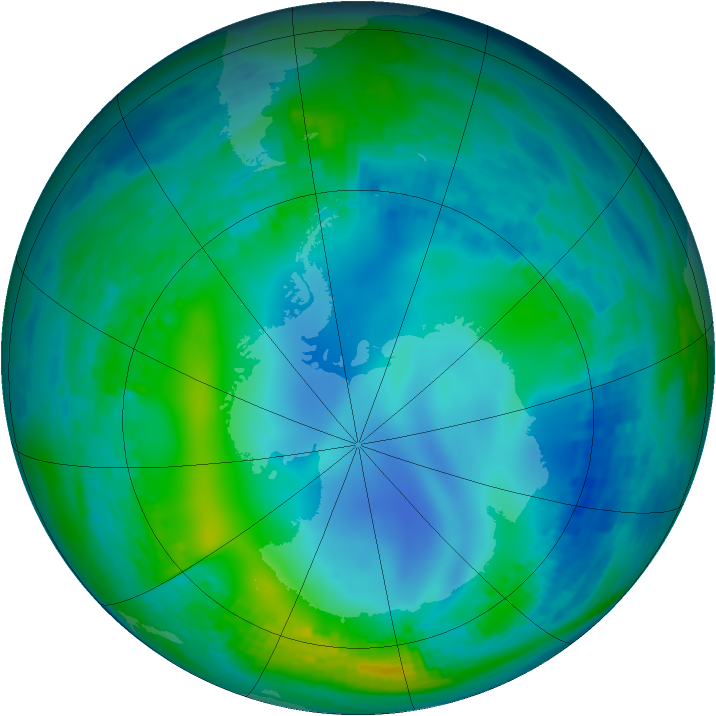 Antarctic ozone map for 27 May 2003