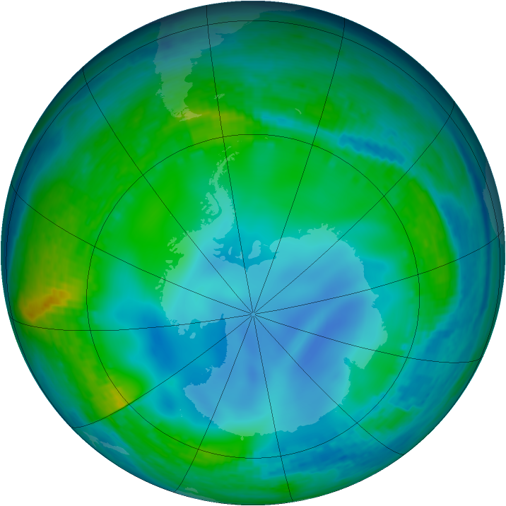Antarctic ozone map for 01 June 2003