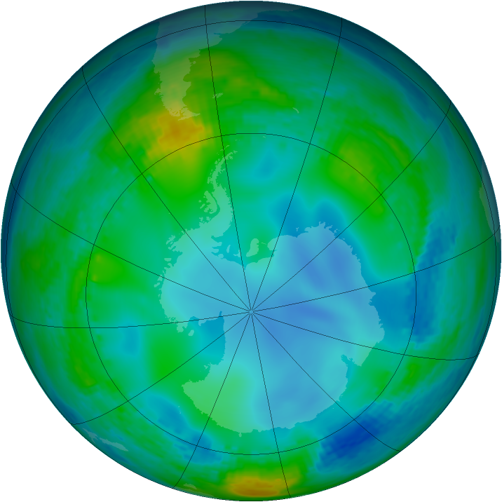 Antarctic ozone map for 05 June 2003