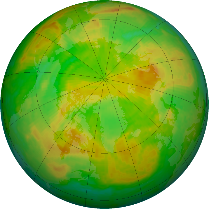 Arctic ozone map for 09 June 2003