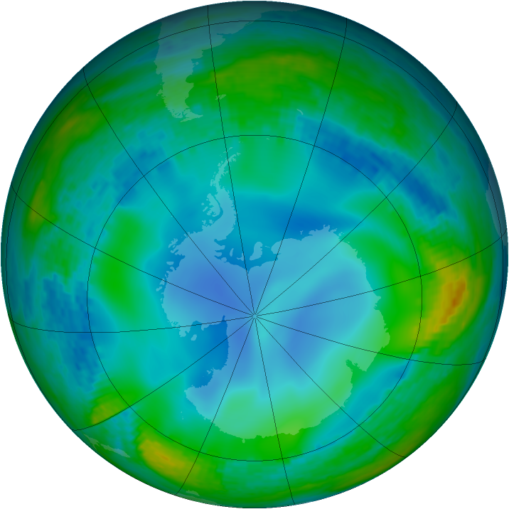 Antarctic ozone map for 24 June 2003