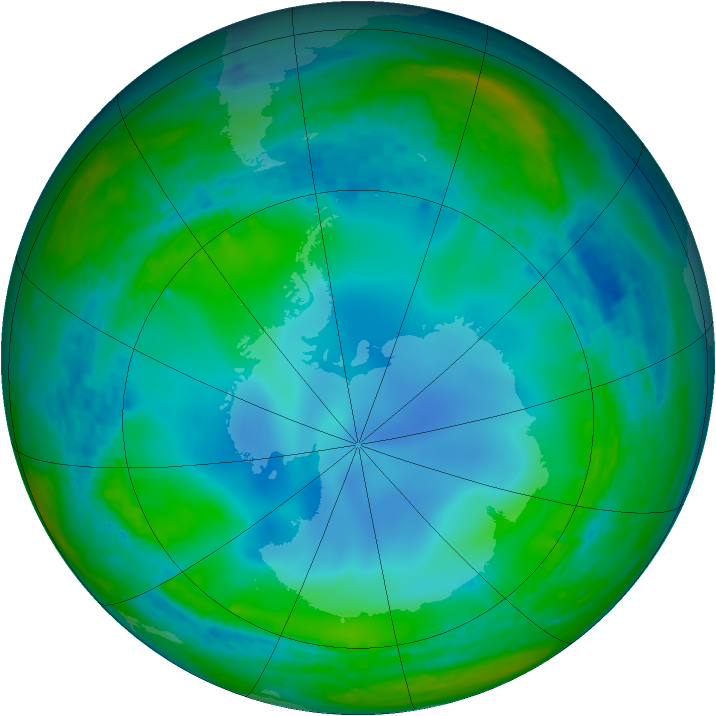 Antarctic ozone map for 26 June 2003