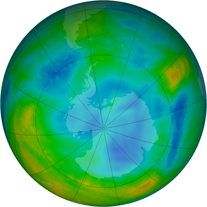 Antarctic ozone map for 09 July 2003