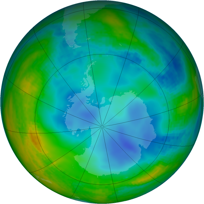Antarctic ozone map for 11 July 2003