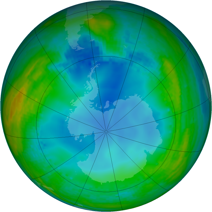 Antarctic ozone map for 16 July 2003