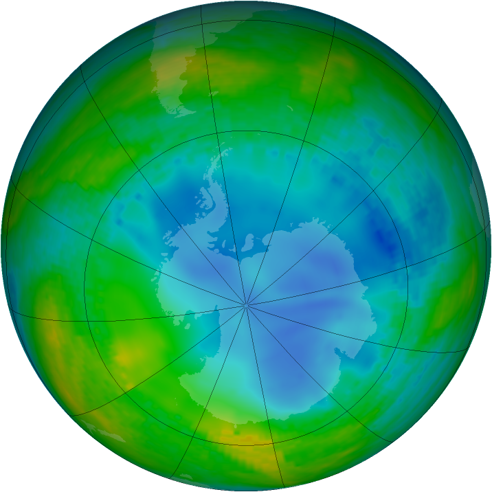 Antarctic ozone map for 20 July 2003